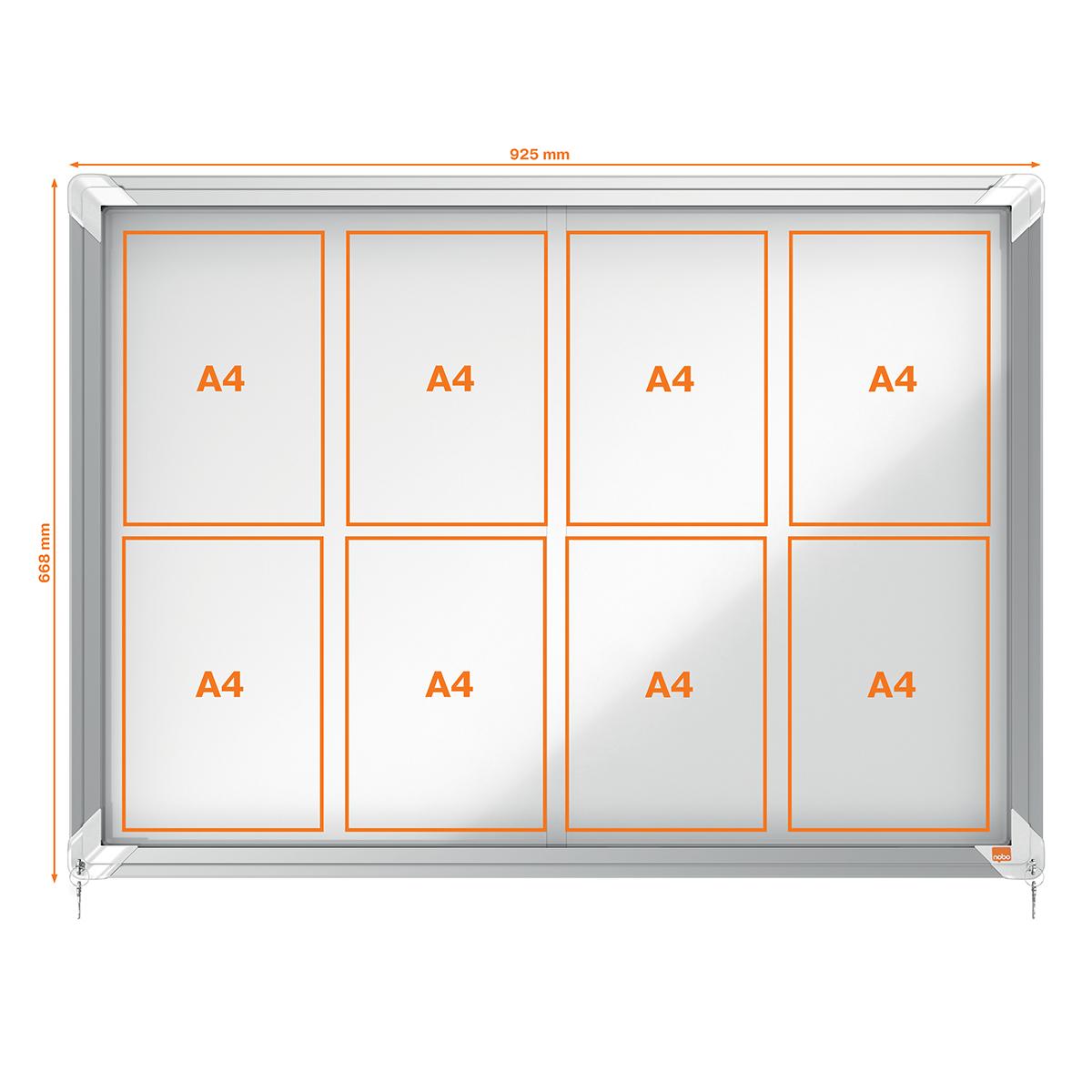 Nobo 1902569 Internal Glazed Case 8 x A4 Magnetic Sliding Door