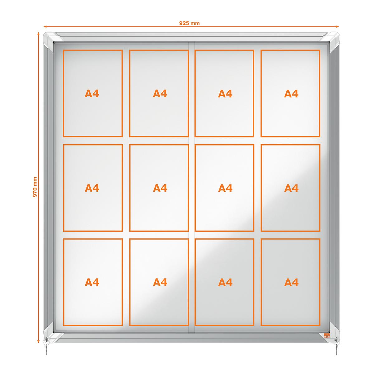 Nobo 1902570 Internal Glazed Case 12 x A4 Magnetic Sliding Door