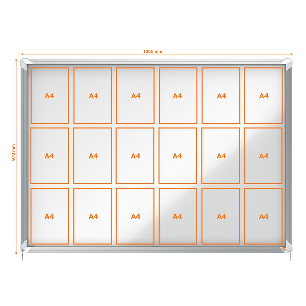 Nobo 1902571 Internal Glazed Case 18 x A4 Magnetic Sliding Door