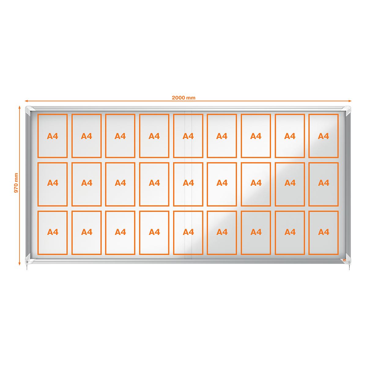 Nobo 1902572 Internal Glazed Case 27 x A4 Magnetic Sliding Door