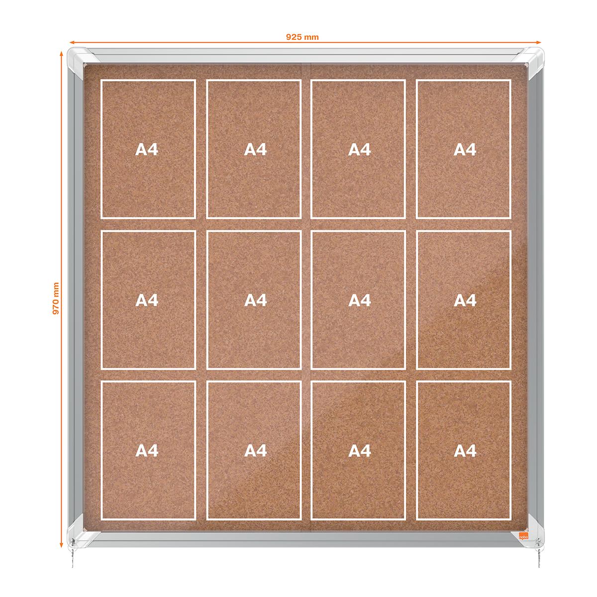 Nobo 1902574 Internal Glazed Case 12 x A4 Cork Sliding Door