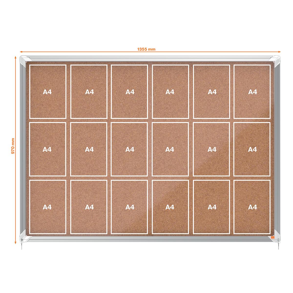 Nobo 1902575 Internal Glazed Case 18 x A4 Cork Sliding Door