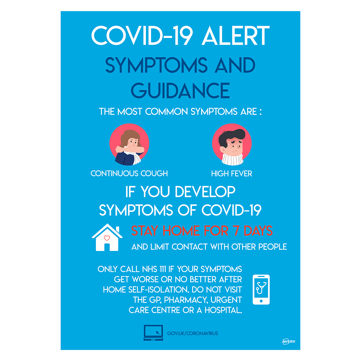 Avery A3 COVID-19 Pre-Printed Symptoms and Guidance Poster