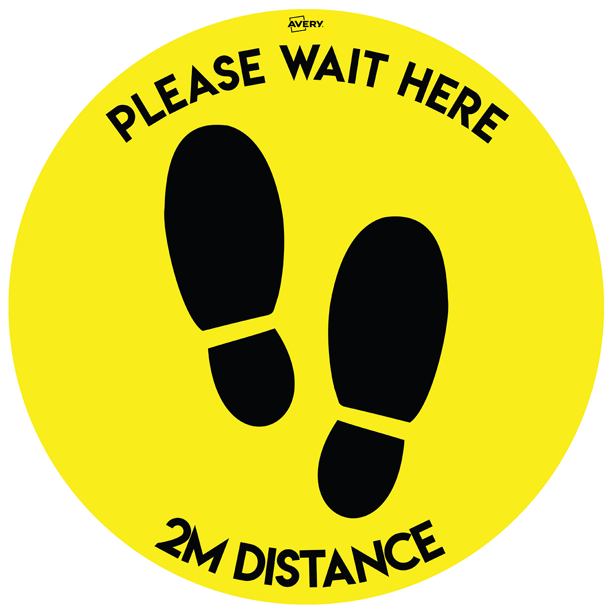 Avery Round COVID-19 Pre-Printed 2m Wait Here Floor Sticker