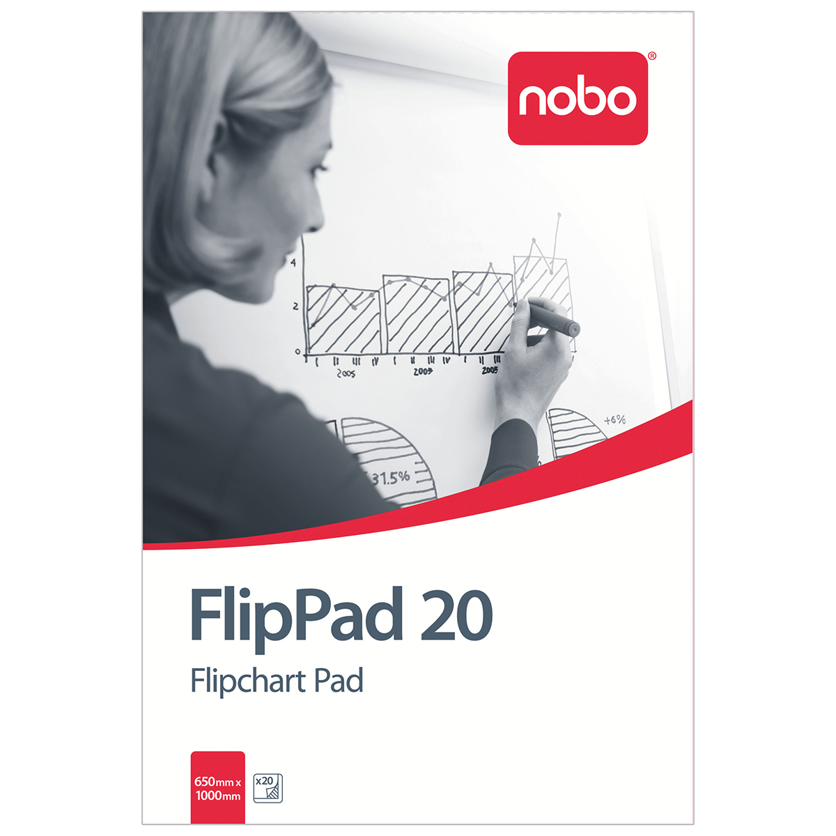 Nobo 1901631 20 Page 650x955mm Flipchart Pad - Single Pack