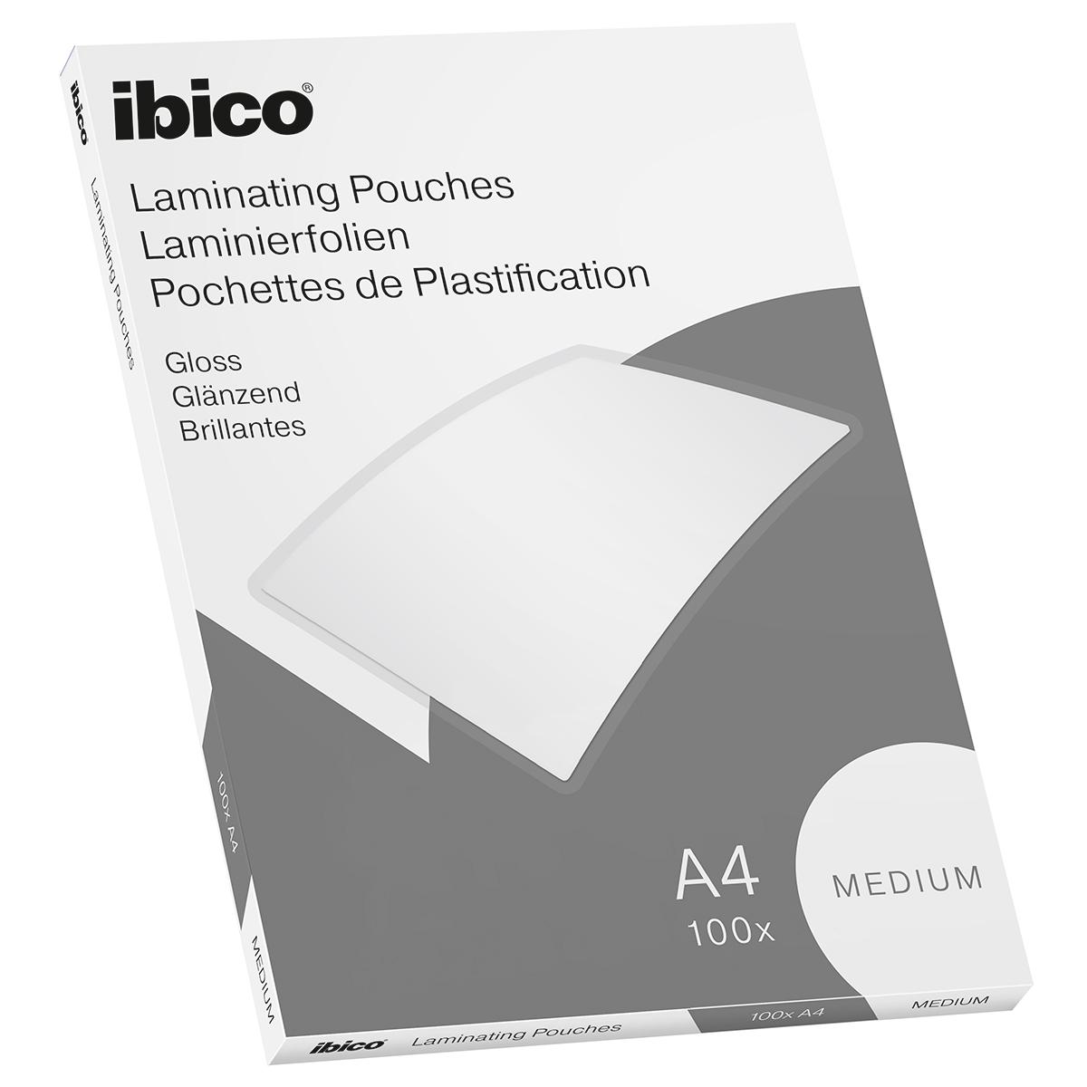 Ibico Basics A4 Gloss Laminating Pouches Medium - Pack of 100