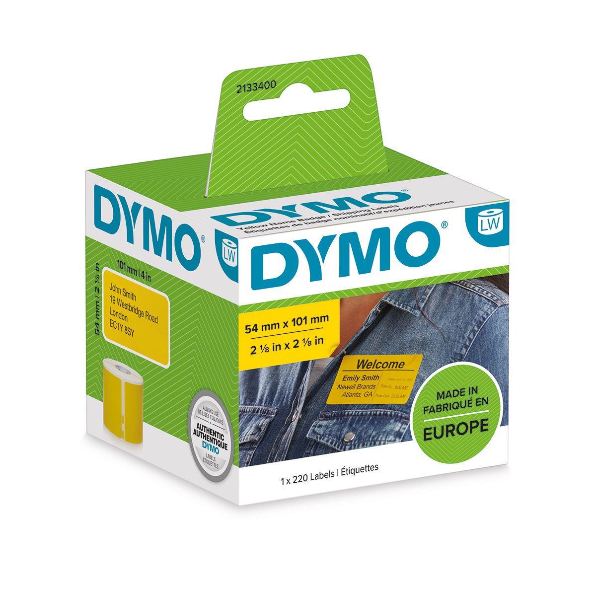 Dymo 2133400 54mm x 101mm Shipping and Name Badge Black on Yellow