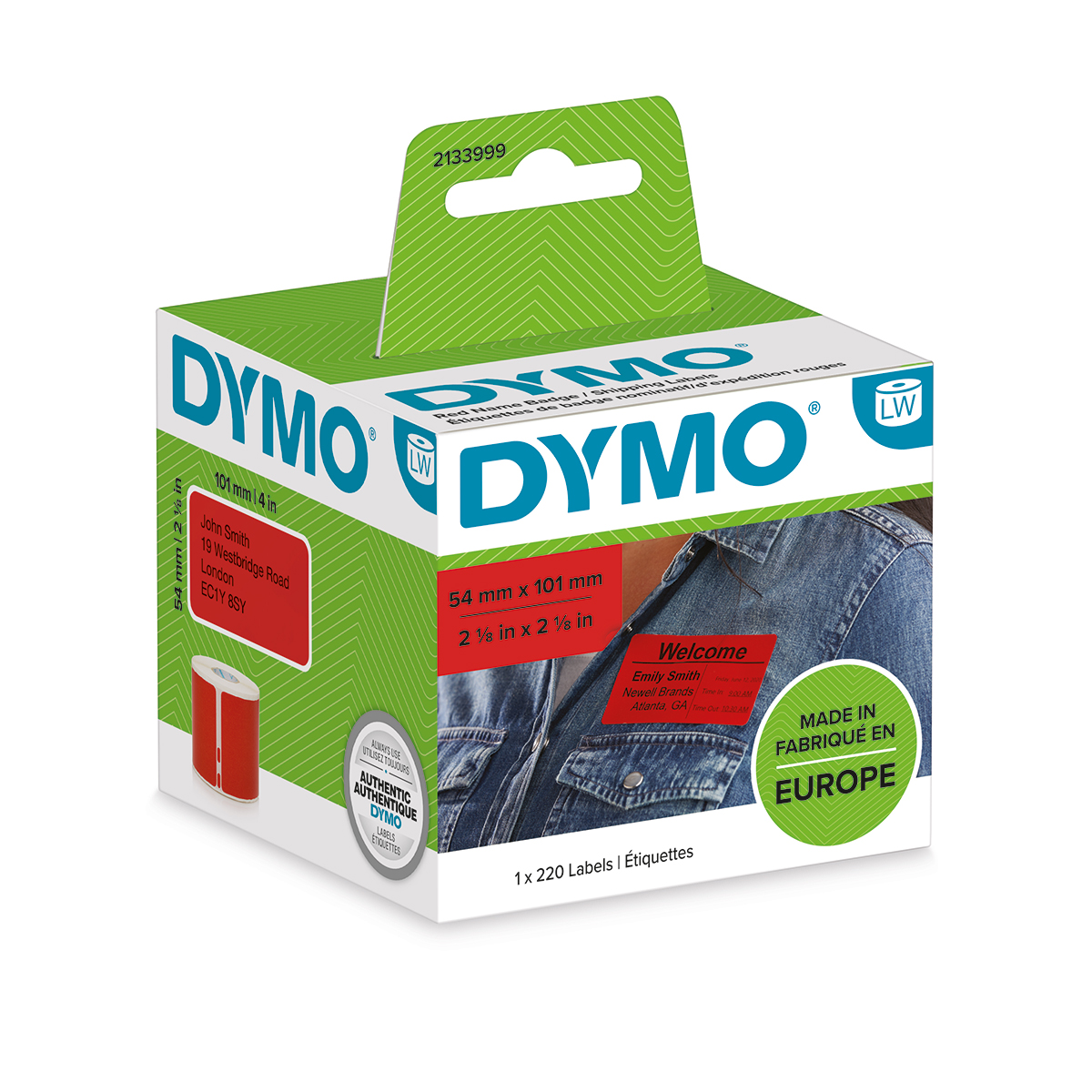 Dymo 2133399 54mm x 101mm Shipping and Name Badge Black on Red