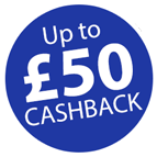 Claim up to £50 cashback or donate to a good cause! Icon