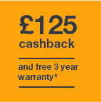 £125 cashback and 3 year warranty Icon