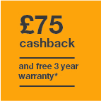 £75 cashback and 3 year warranty Icon