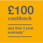 £100 cashback and 3 year warranty  Icon