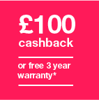 £100 cashback or three year warranty Icon