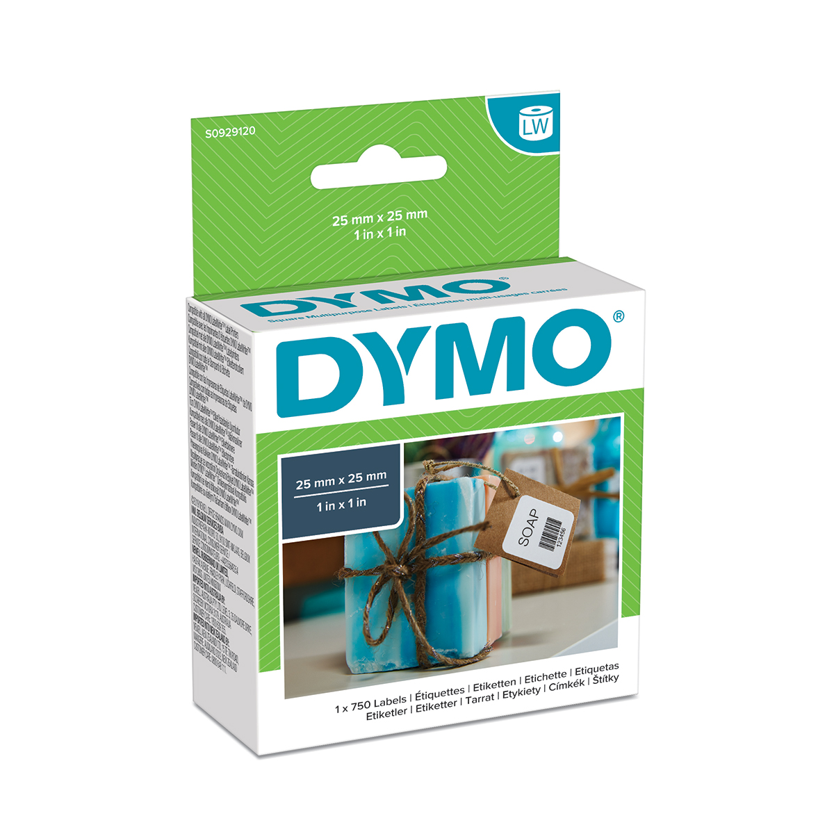 Dymo S0929120 25mm x 25mm Square Multipurpose Labels pack of 750
