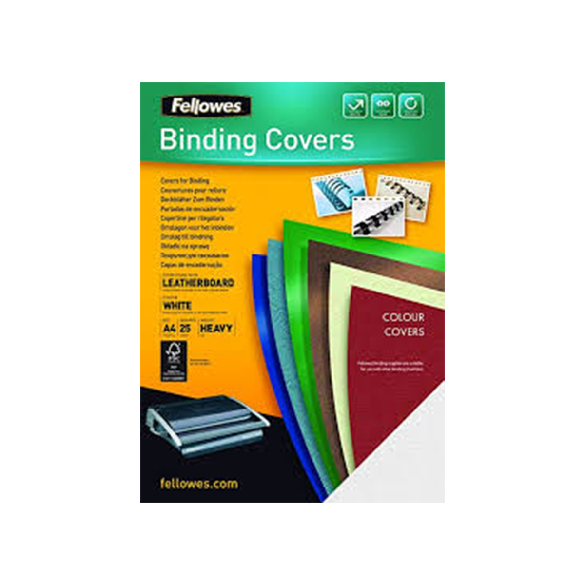 Fellowes 5370104 A4 Leatherboard Covers White 100 PK