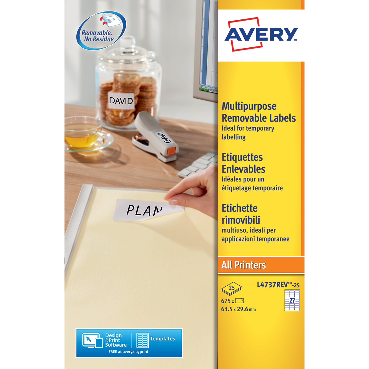 Avery L4737REV-25 Multipurpose Removable Labels 25 sheets - 27 Labels per Sheet