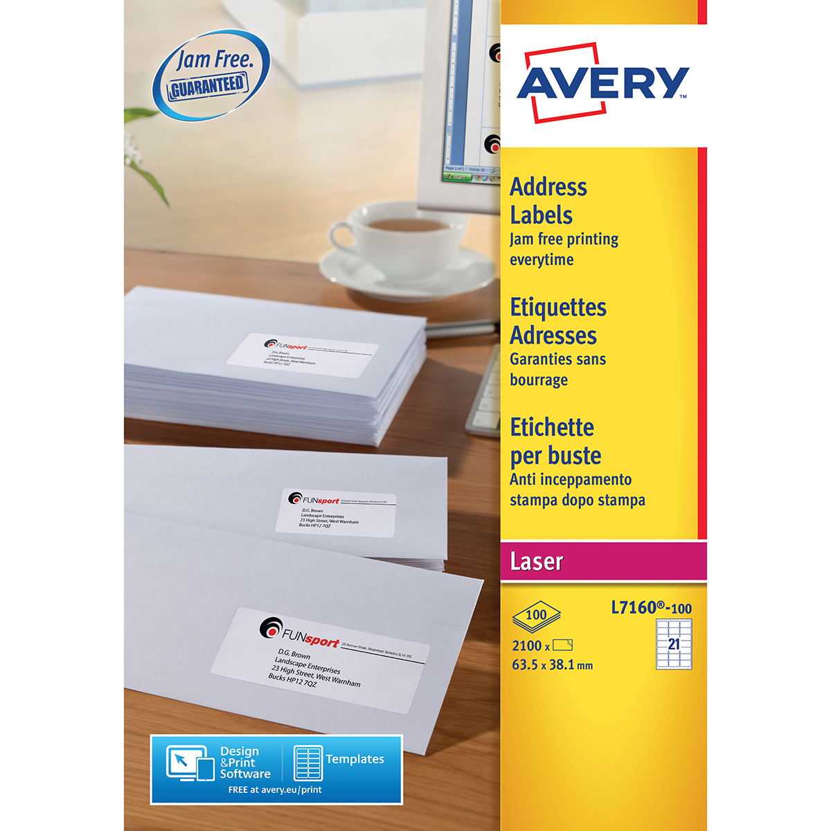 Avery L7160-100 Address Labels 100 sheets - 21 Labels per Sheet
