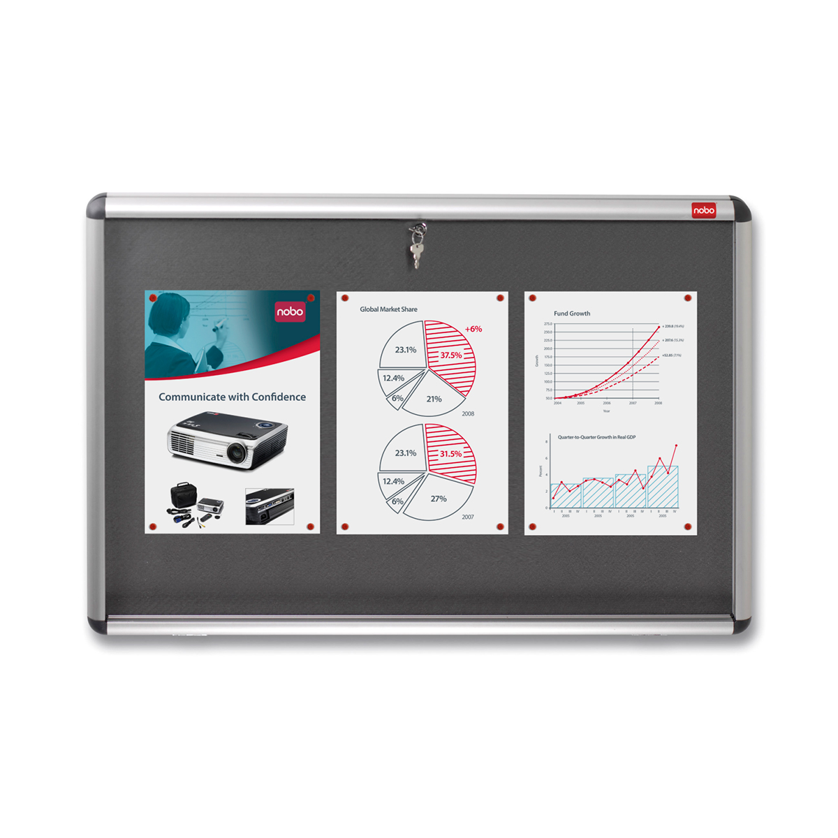 Nobo 31333501 A0 Internal Display Case with Grey Felt