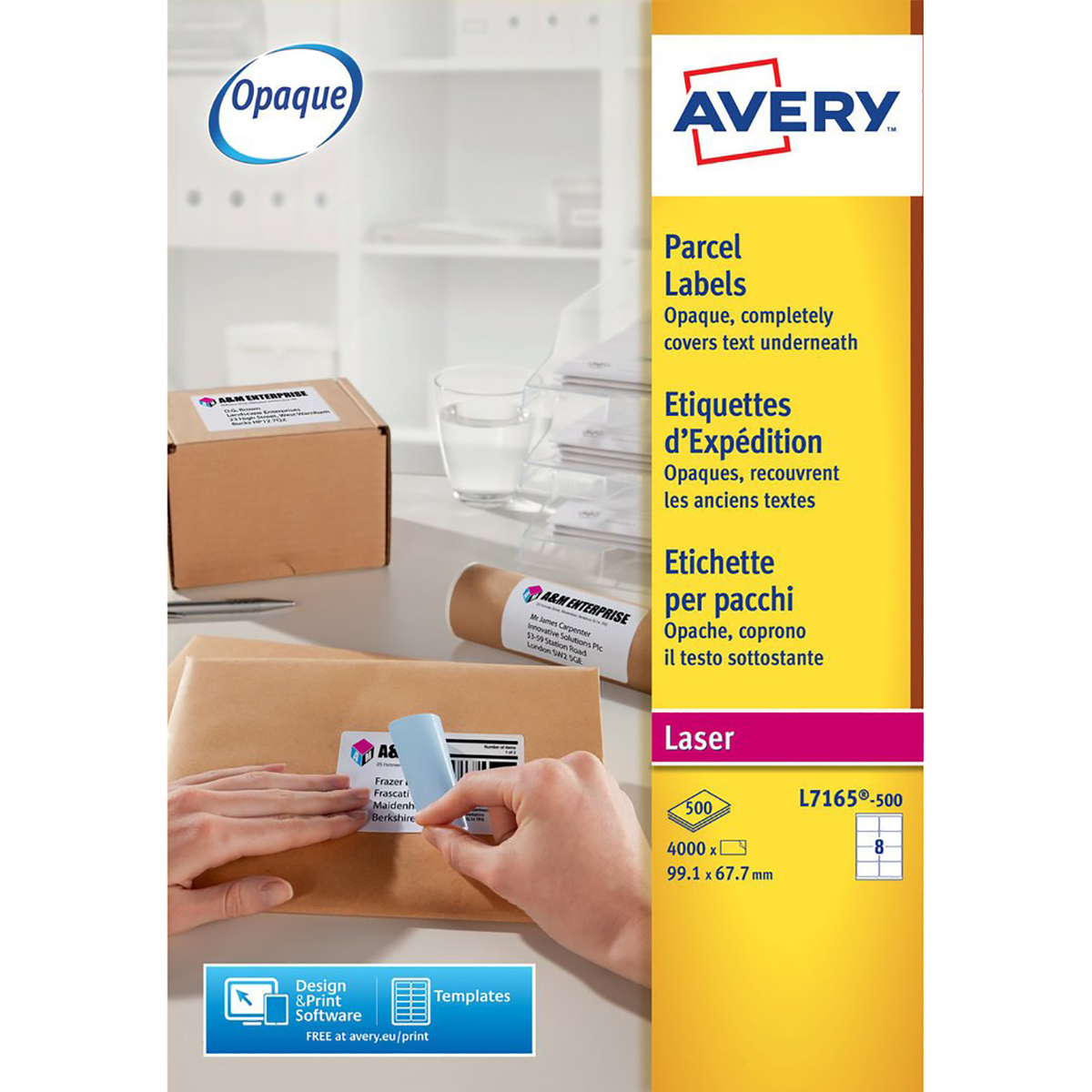 Avery L7165-500 Parcel Labels 500 sheets - 8 Labels per Sheet