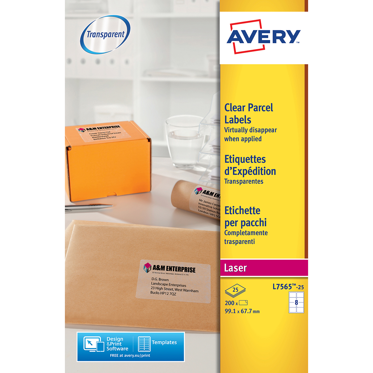 Avery L7565-25 Parcel Labels 25 sheets - 8 Labels per Sheet