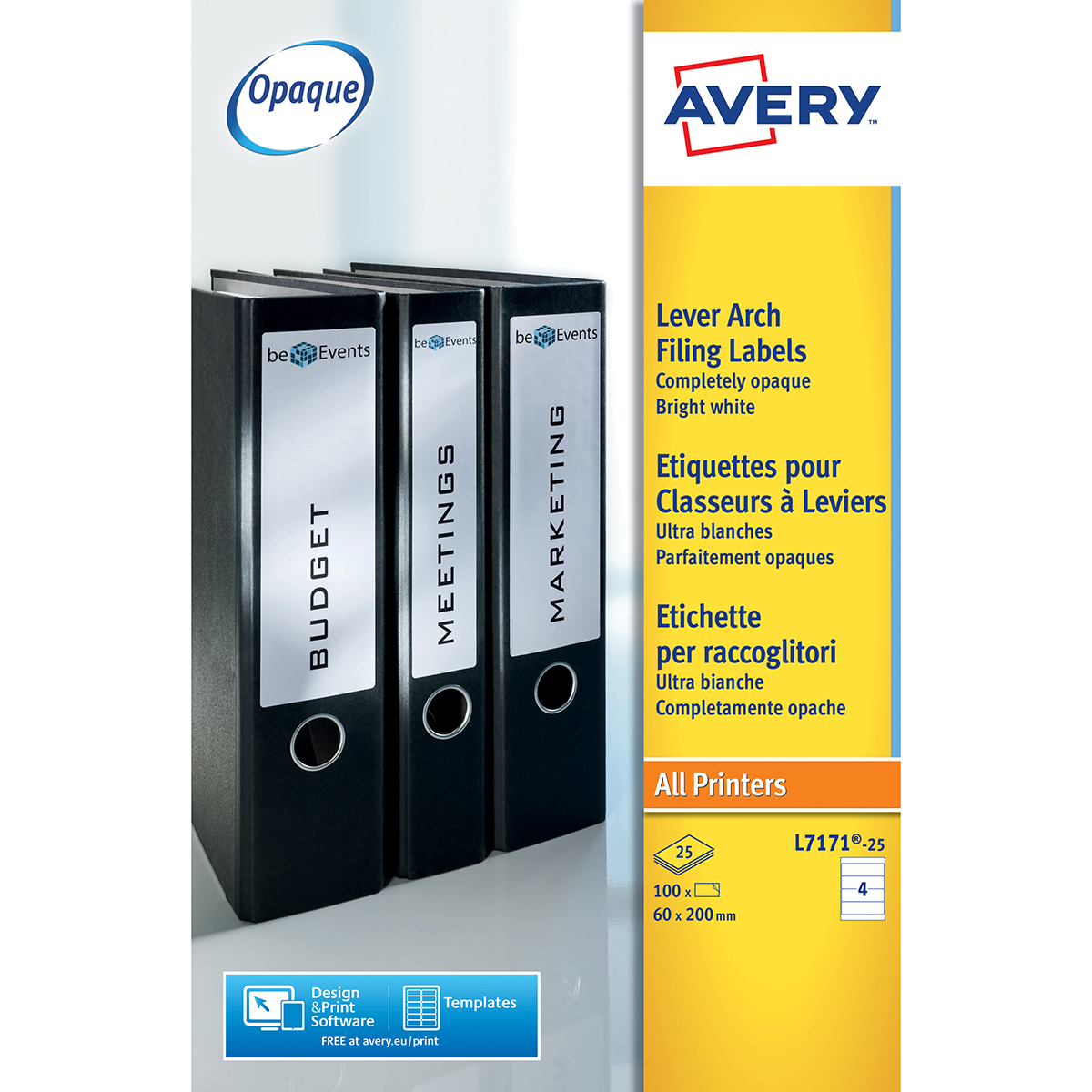 Avery L7171-25 Filing Labels 25 sheets - 4 Labels per Sheet