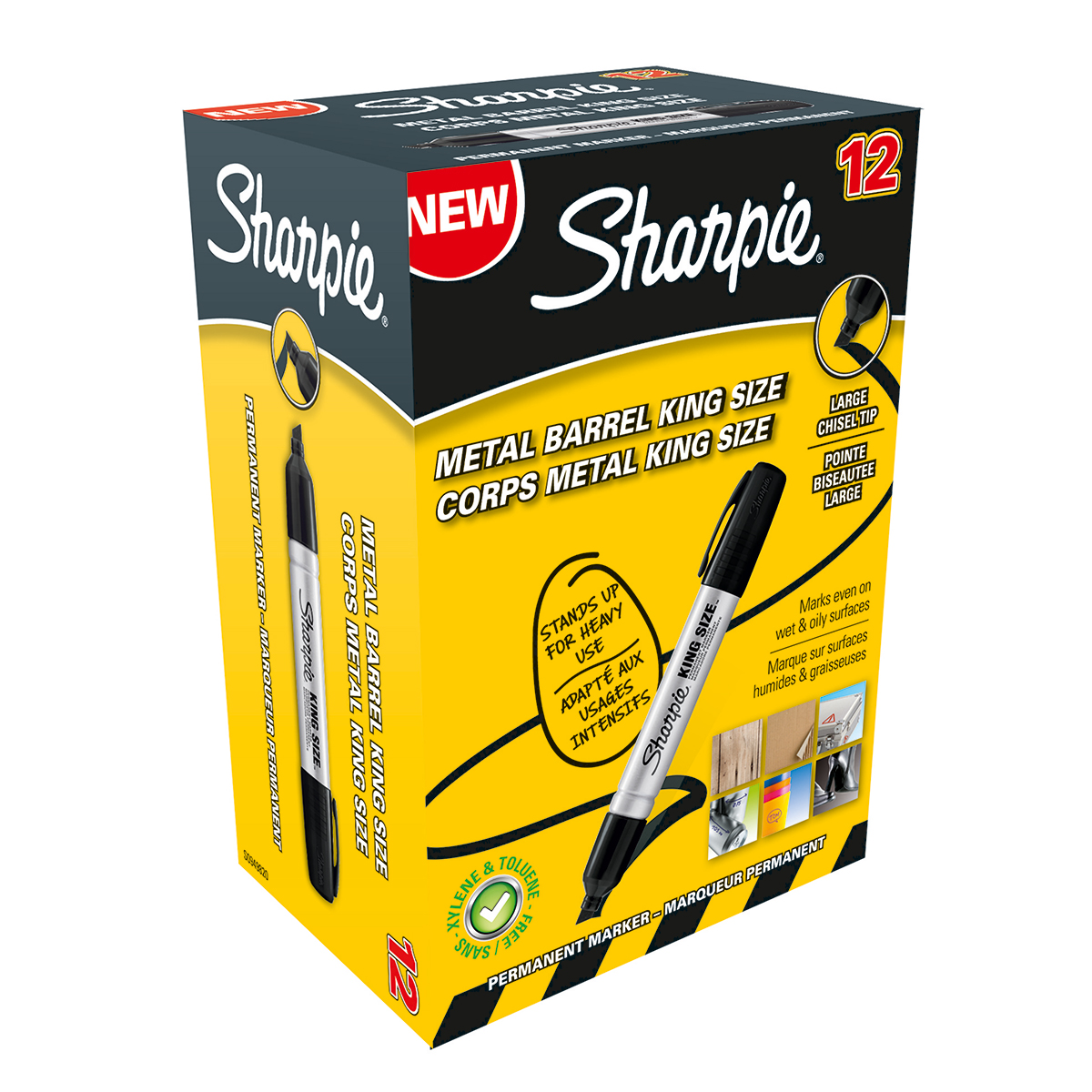 Sharpie S0949820 Metal Barrel King Medium Chisel Black Pack of 12