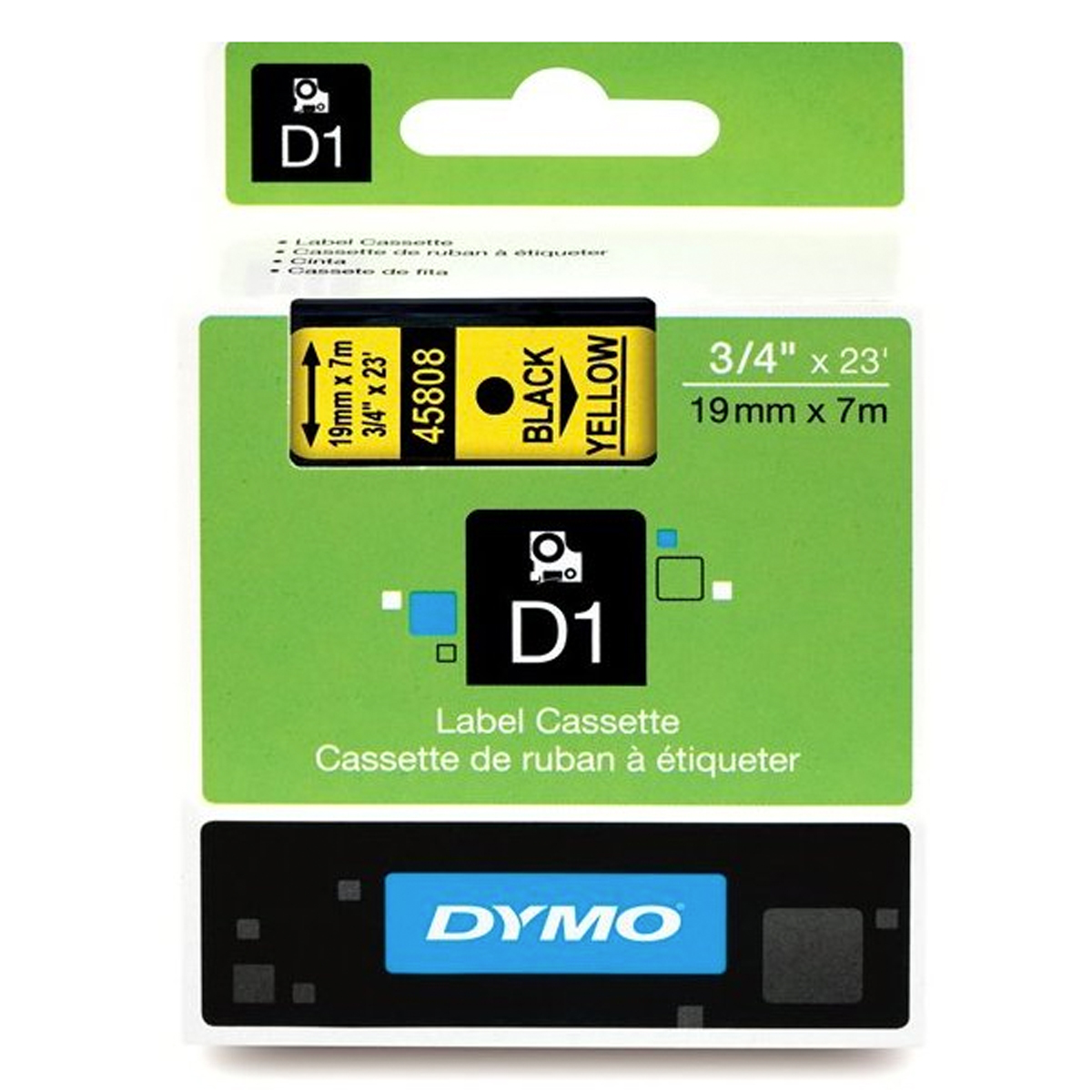 Dymo 45808 19mm x 7m Black on Yellow Tape