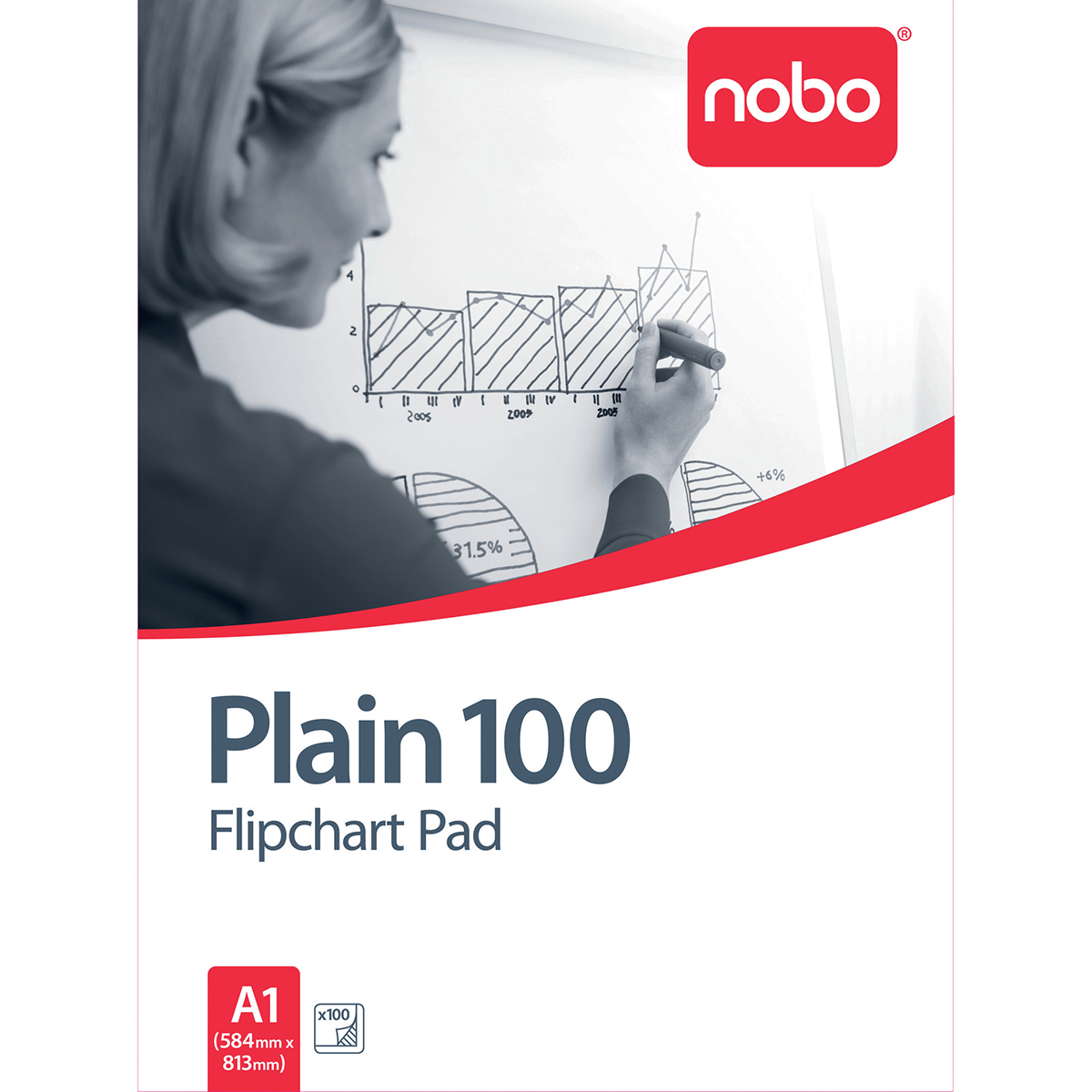 Nobo 34633681 100 Page A1 Flipchart Pad Pack of 2