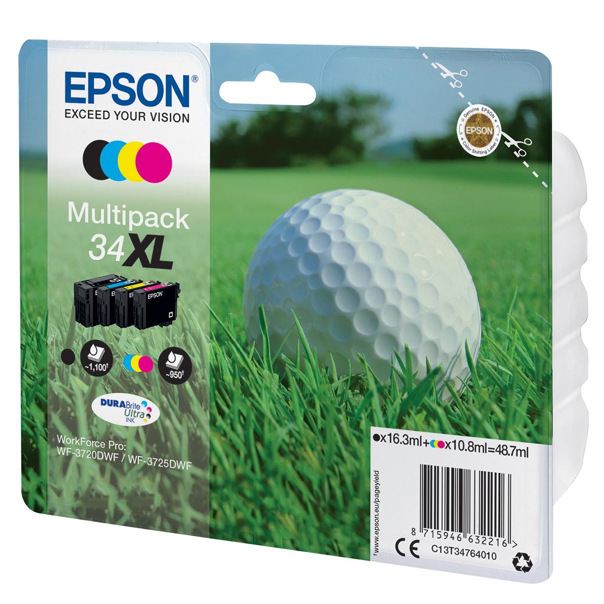 Epson 34XL Multipack 4 Ink Durabrite Ultra Cartridges