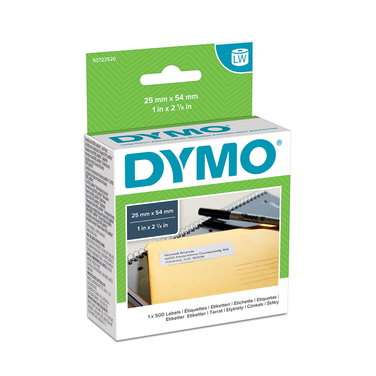 Dymo 11352 25mm x 54mm Returns Labels Tape Black On White