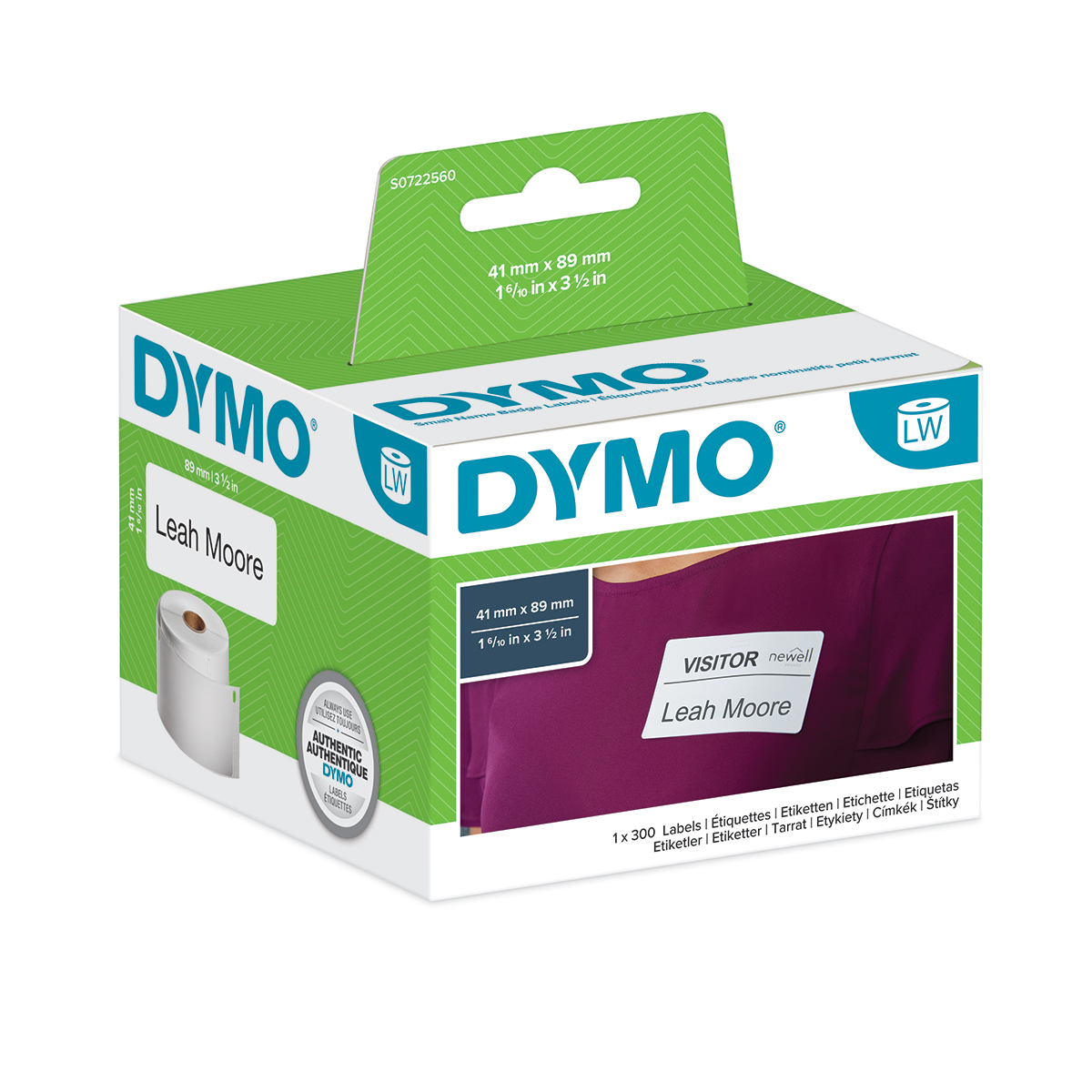 Dymo 11356 41mm x 89mm Name Badge Labels Black on White