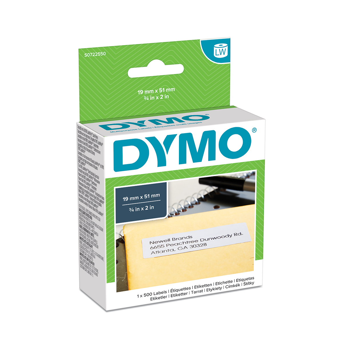 Dymo 11355 19mm x 51mm Multi Purpose Labels Black on White