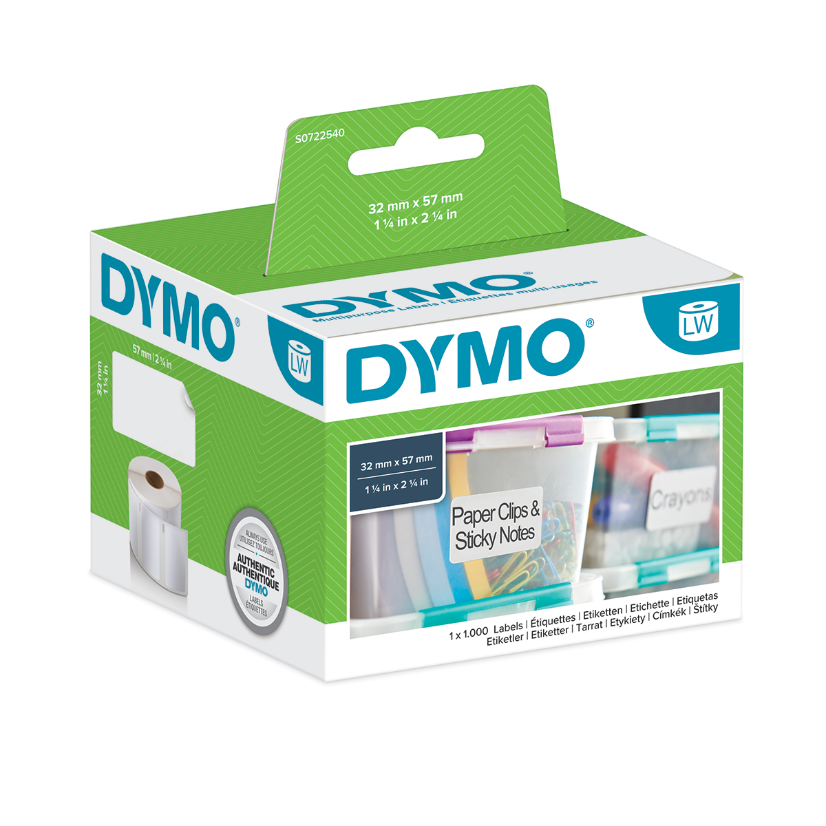 Dymo 11354 32mm x 57mm Multi Purpose Labels Black on White