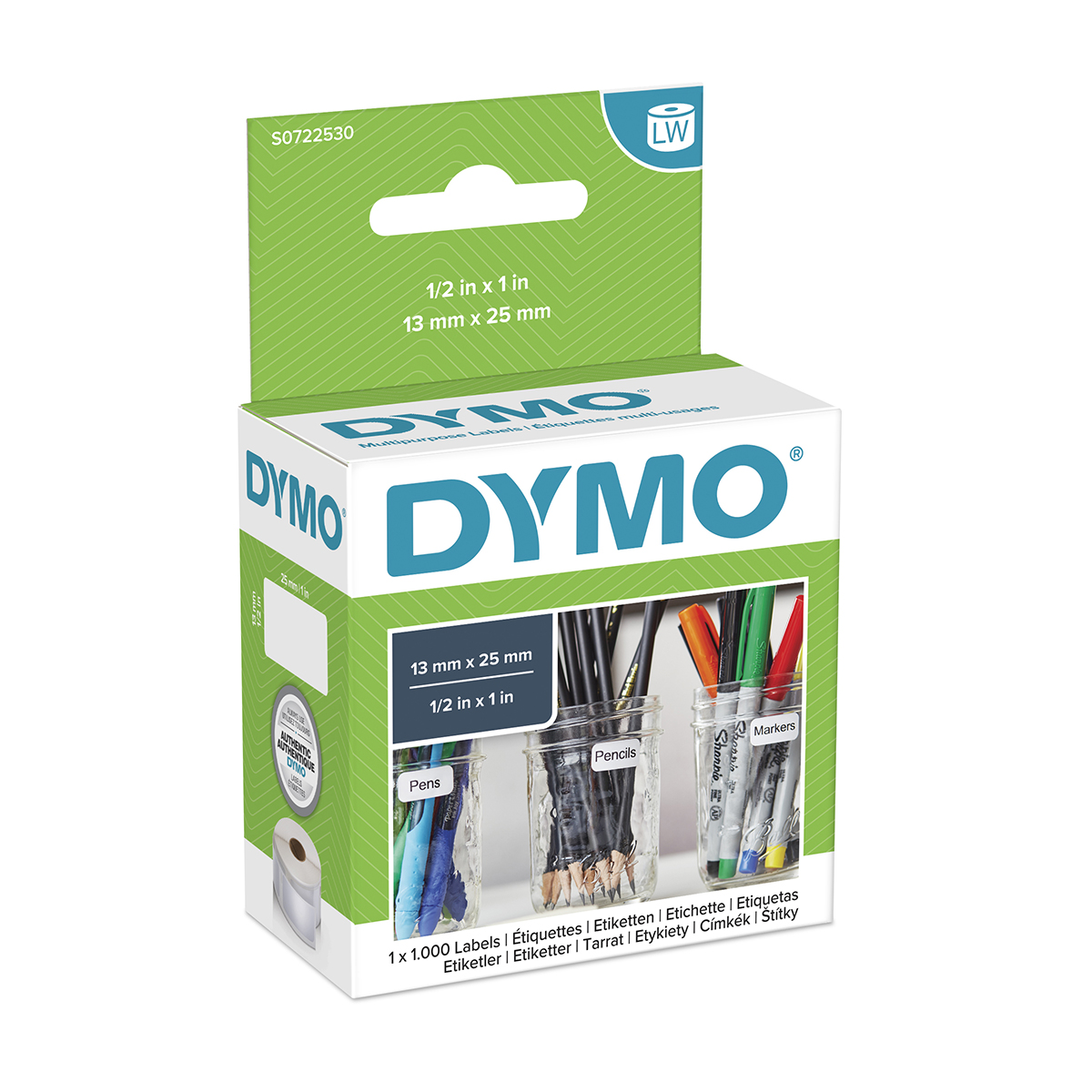 Dymo 11353 13mm x 25mm Multi Purpose Labels Black On White
