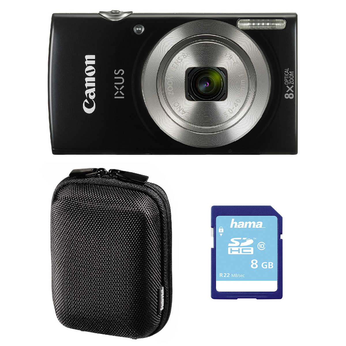Canon IXUS 185 Digital Camera 8GB Bundle Black