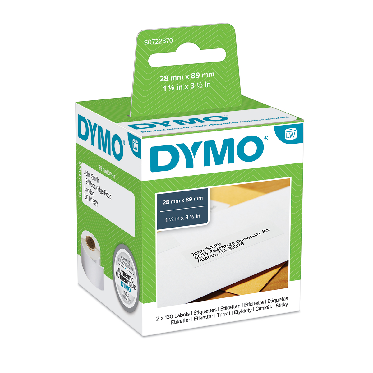 Dymo 99010 Standard Address Label Black On White Box of 2 rolls