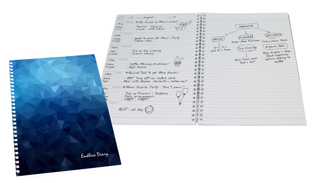 Dateless Diary and Journal 52 Pages A4 Blue Finish