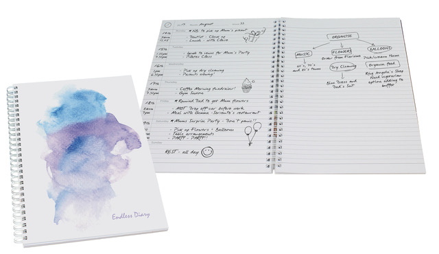 Dateless Diary and Journal 52 Pages A4 Watercolour Finish
