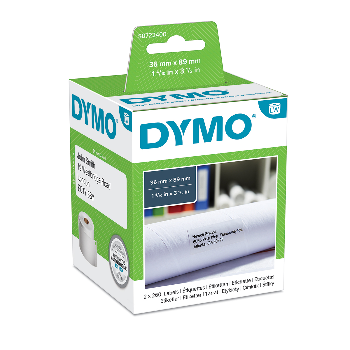 Dymo 99012 36mm x 89mm Large Address Labels Black on White Box of 2 Rolls