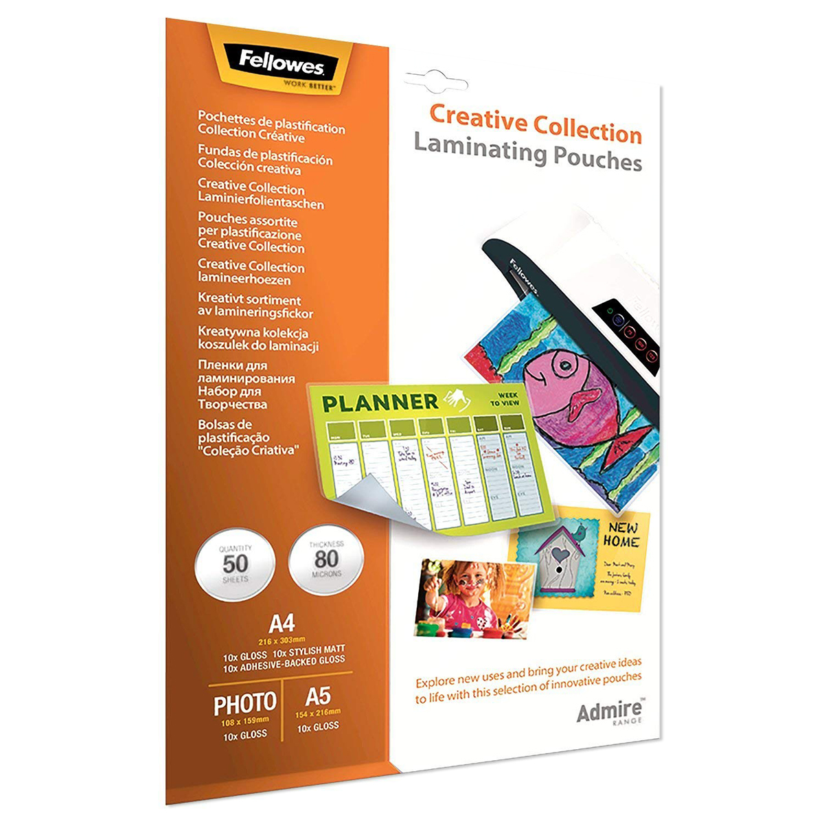 Fellowes 5602301 Admire Creative Collection Laminating Pouches 50pk