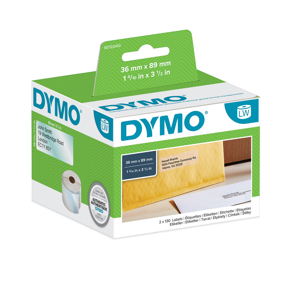 Dymo 99013 36mm x 89mm Address Labels Black On Clear