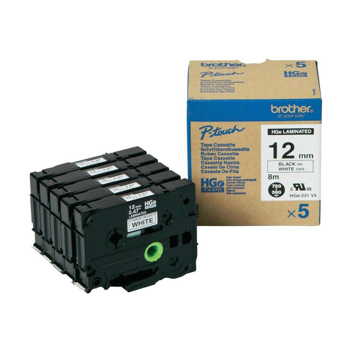Brother HGE231V5 Black on White 12mm 8M x 12mm High Grade Tape 5 pack