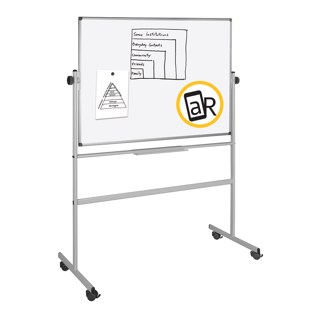 Bi-Office Mobile Lacquered Steel Revolving Board 1200 x 1200mm