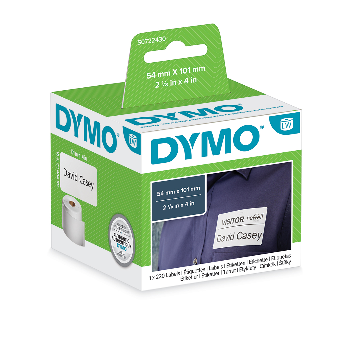 Dymo 99014 54mm x 101mm Shipping Name Badge Black on White