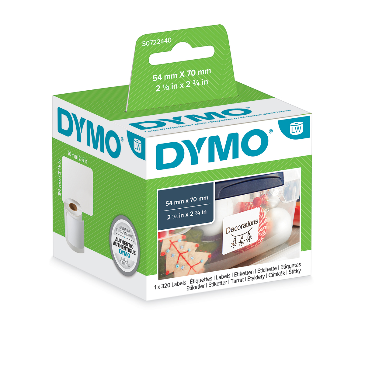 Dymo 99015 54mm x 70mm Large Multipurpose Labels Black On White