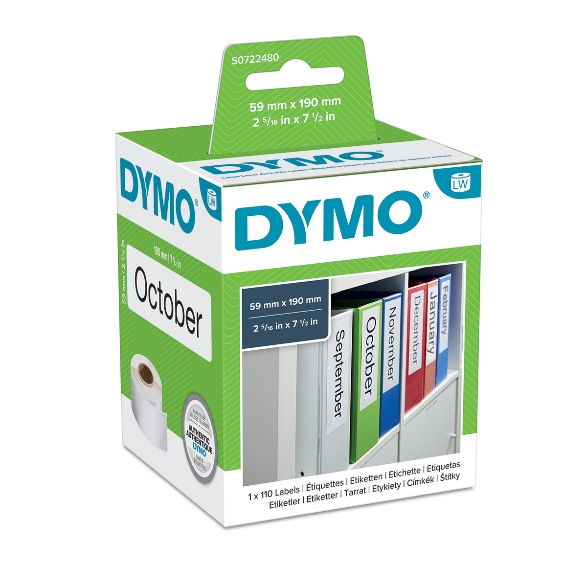 Dymo 99019 59mm x 190mm Large Lever Arch Labels Black On White