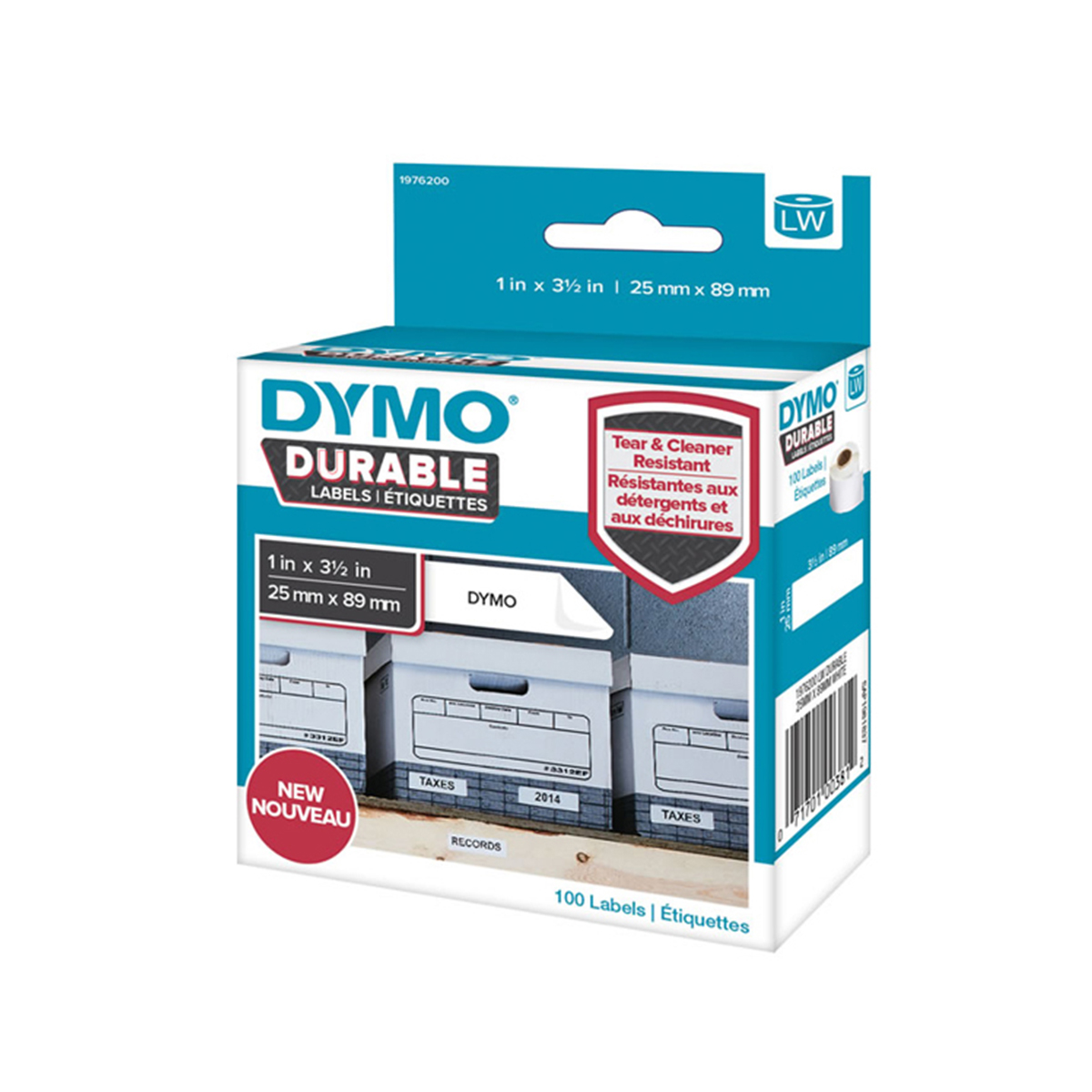 Dymo 1976200 LW Durable Shelving label 25mm x 89mm Black on White
