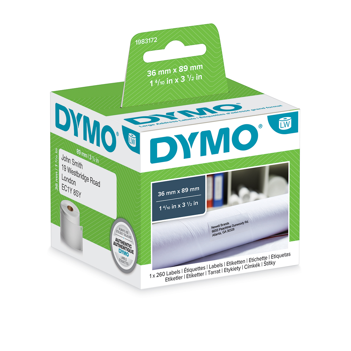 Dymo 1983172 LW 99012 Address Labels 36 x 89mm 1 Roll of 260 Labels