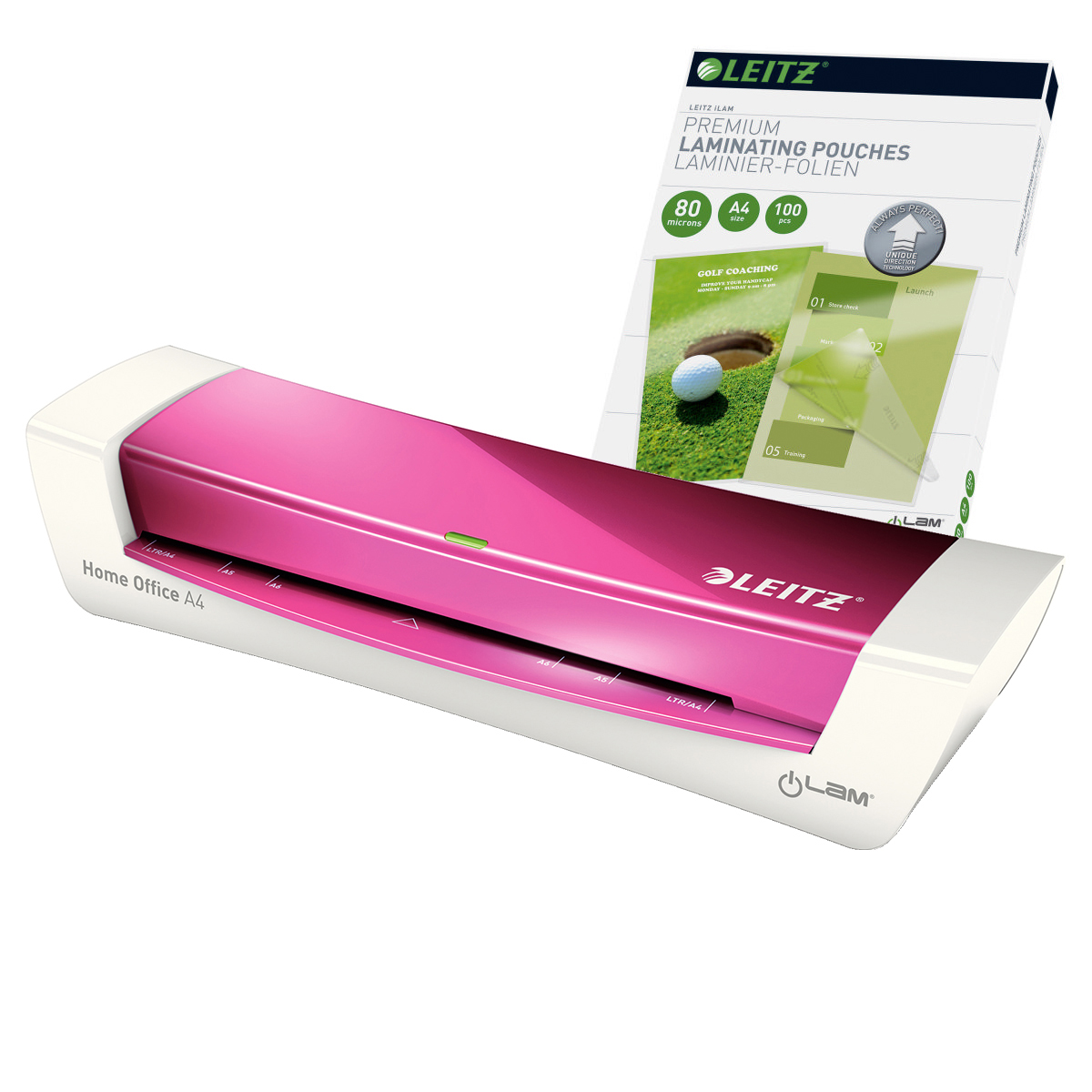 Leitz iLAM Home Office A4 Pink Laminator and Pouches Bundle