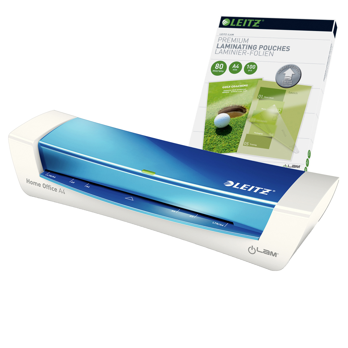 Leitz iLAM Home Office A4 Blue Laminator and Pouches Bundle